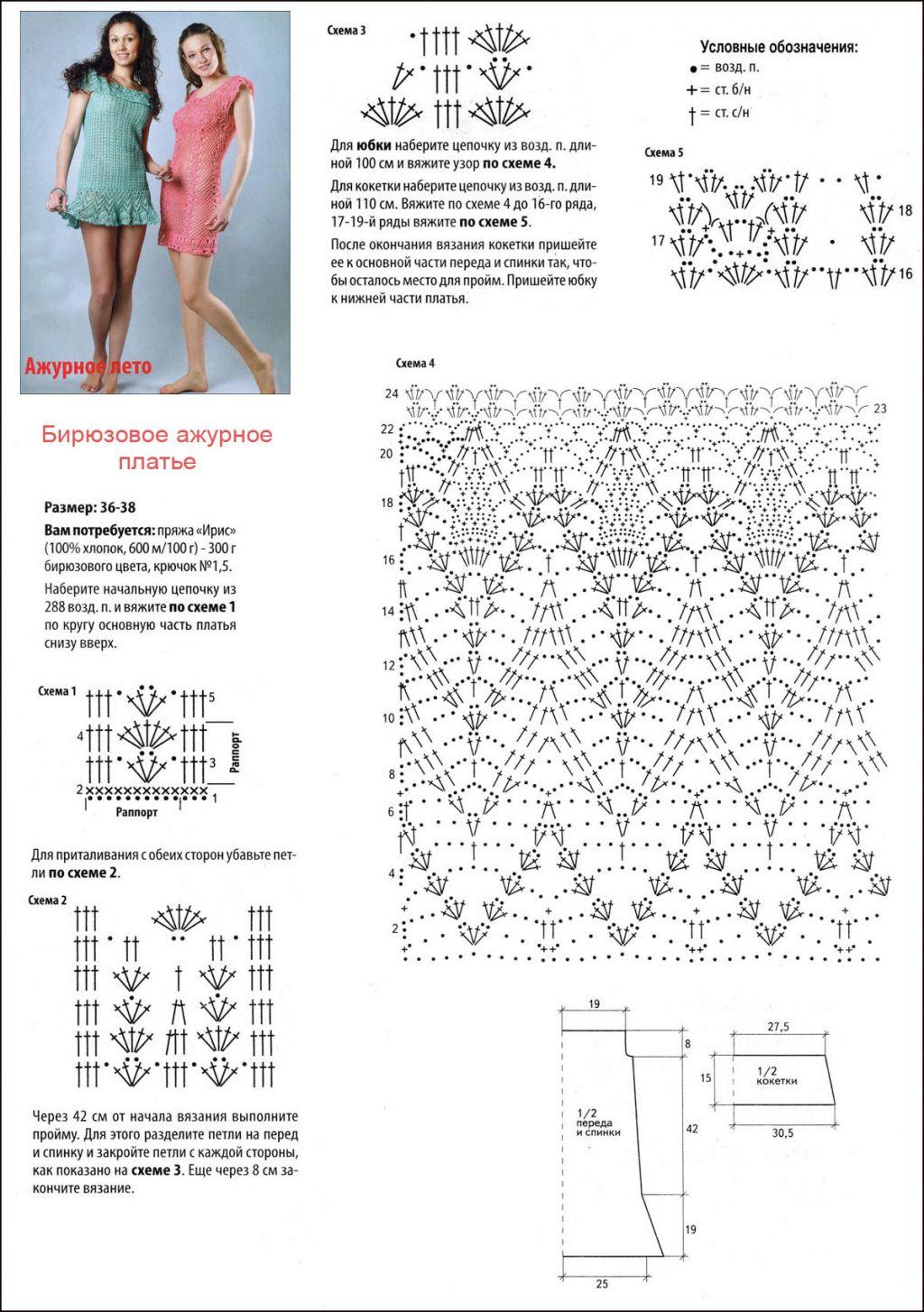 Вязание платьев и сарафанов для детей крючком - подборки 42